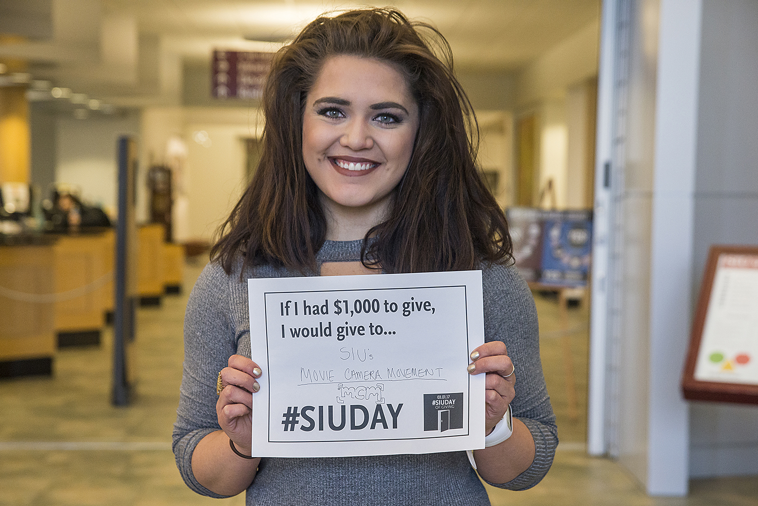 Foundation videographer, student Amanda Neuhouser, hopes donors will support the Moving Camera Movement RSO during SIU Day of Giving on March 1.