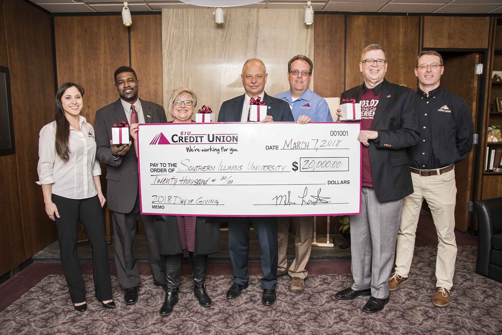 SIU Credit Union gives $20,000 on SIU Day of Giving
