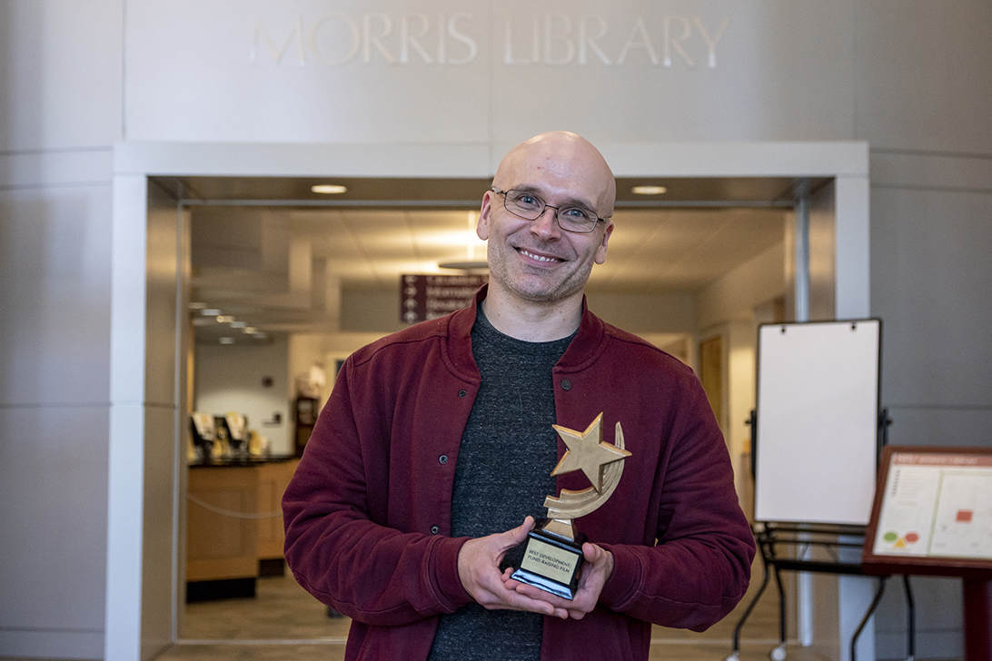 Josh Vossler of SIU Morris Library wins 2018 Arlies Best Development/Fundraising Films award.