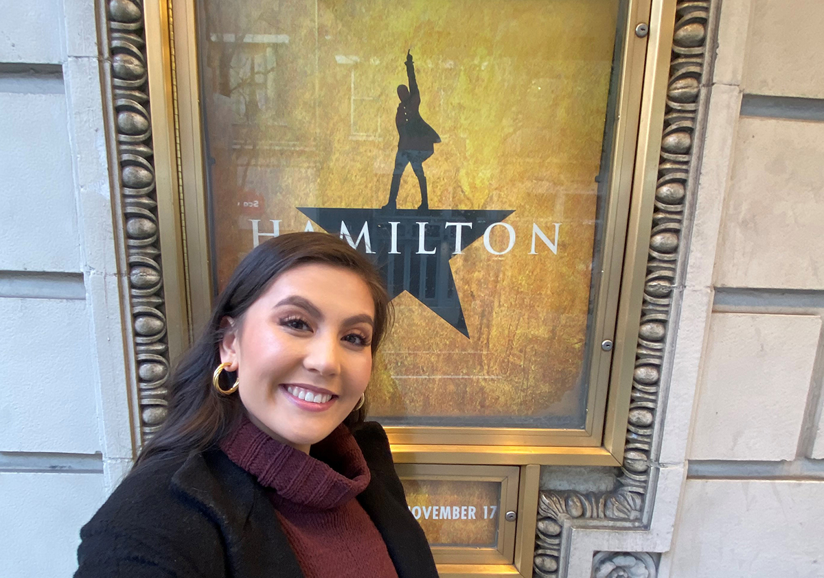 Zoe Jensen snaps a selfie outside the the Forrest Theatre in Philadelphia, the first stop of her 'Hamilton' production.